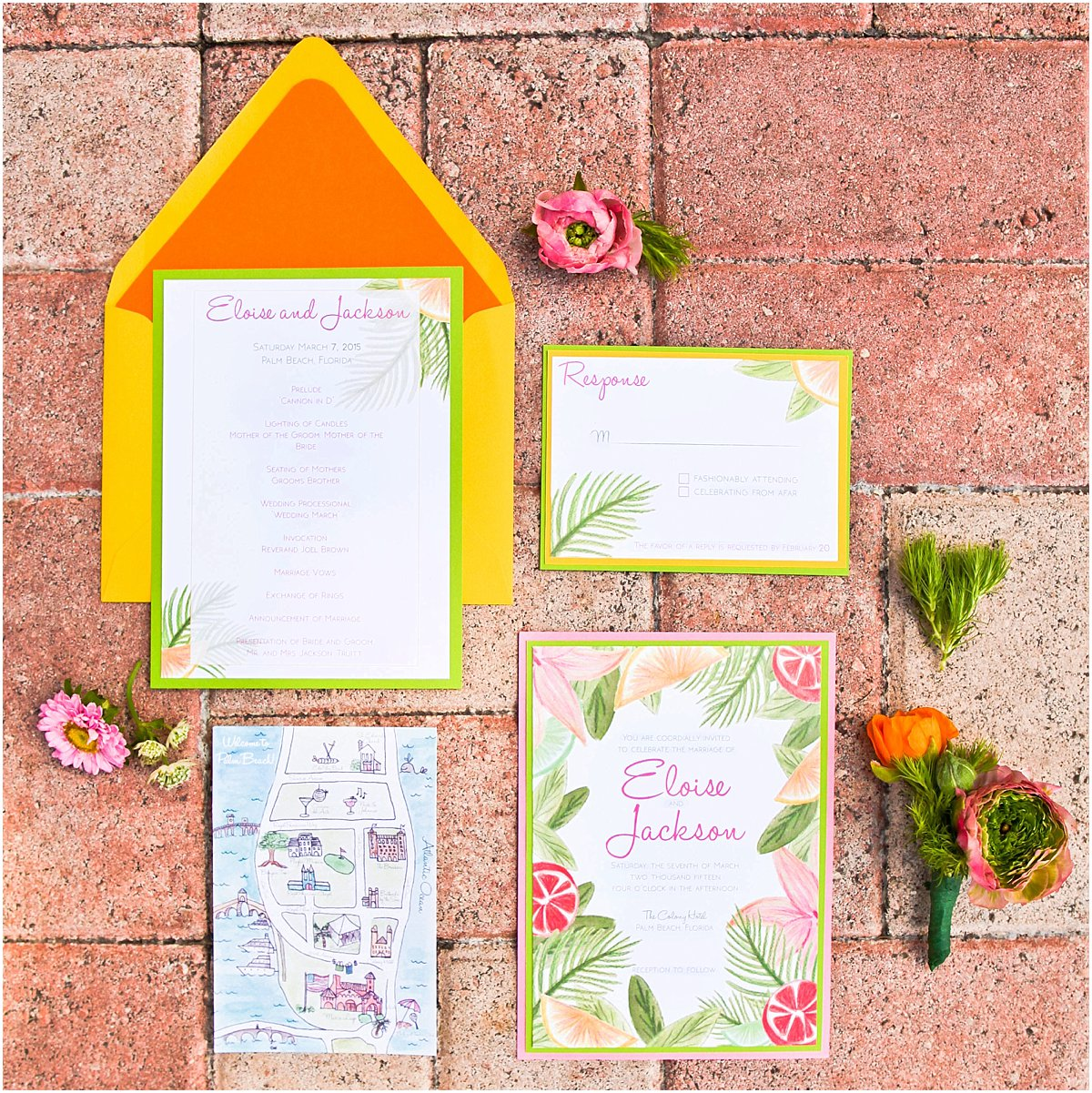 Custom Palm Beach Wedding Invitations Married in Palm Beach